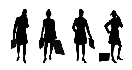 woman on phone: silhouettes of female business woman on white background