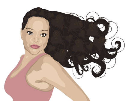 illustration of brunette woman with heart highlights on white