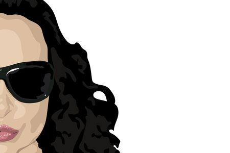 illustration of womans face with dark hair on white background