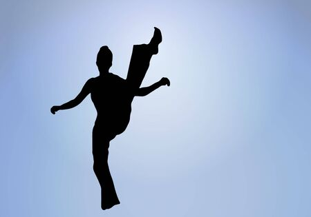 control of body movement: silhouette of woman doing a high kick into glowing white center