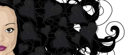 illustration banner of woman with dark hair and heart highlights Stock Photo