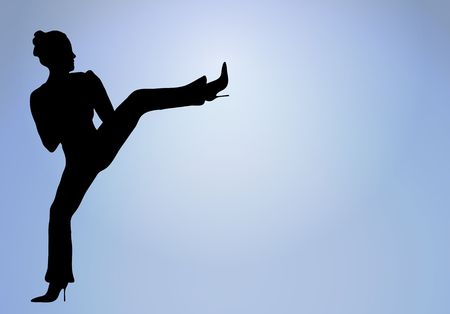 silhouette of woman doing a high kick into glowing white center