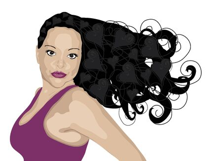 curls: illustration of dark haired woman with heart highlights on white