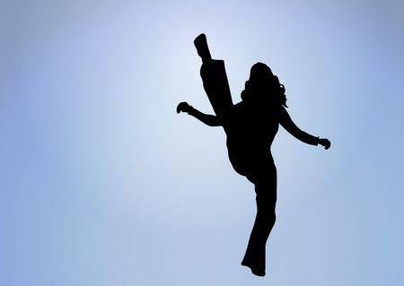 flexible sexy: silhouette of woman doing a high kick into glowing white center
