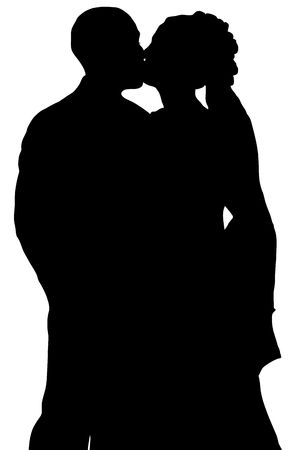 lovers kissing: silhouette of bride and groom kissing on white background Stock Photo