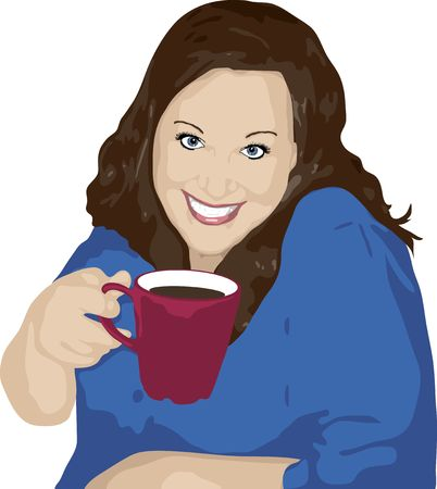 illustration of happy woman drinking a cup of coffee Stock Illustration - 2536728