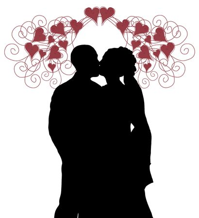 newly wedded couple: silhouette of bride and groom kissing under hearts on white background