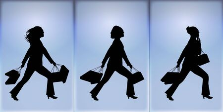 silhouettes of women shopping on blue background
