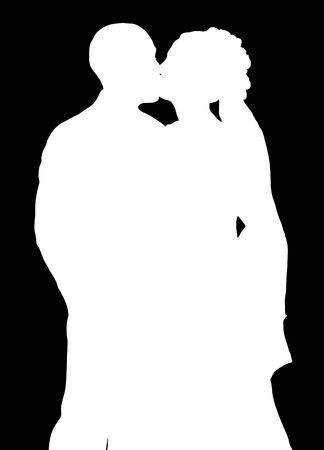 silhouette of bride and groom kissing on black background