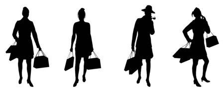 silhouettes of women shopping on white background Stock Photo - 2563776