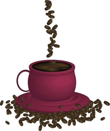 illustration of espresso coffee and beans on white background illustration