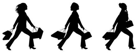 silhouettes of women shopping on white background photo