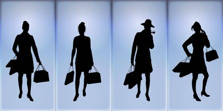 silhouettes of women shopping on blue background Stock Photo - 2575155