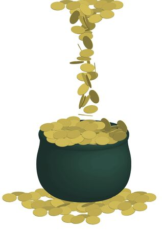 stacked: illustration of green pot of gold coins on white background