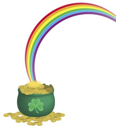 illustration of green pot of gold coins and rainbow on white background illustration
