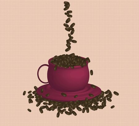 expresso: illustration of espresso coffee and beans on pattern background