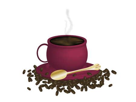 Illustratie van espresso koffie en bonen op witte achtergrond Stockfoto - 2575642
