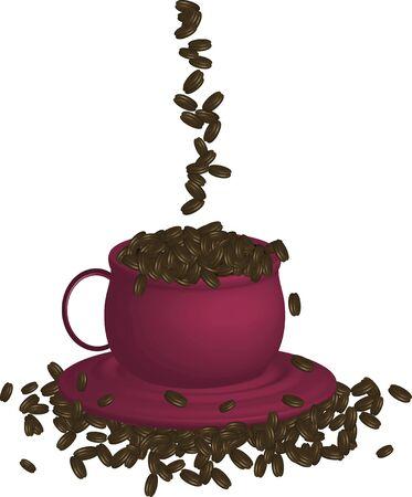 Illustratie van espresso en bonen op witte achtergrond Stockfoto - 2580402