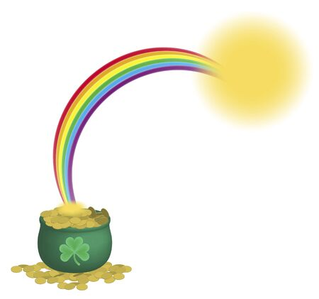 illustration of green pot of gold coins and rainbow on white background