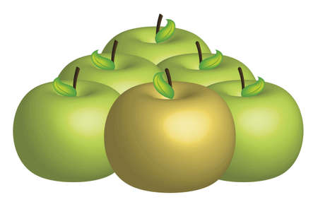 golden apple: illustration of golden apple with green apples on white background