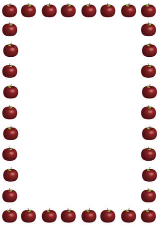 illustrated border of large red apples on white background