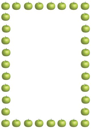 illustrated border of large green apples on white background