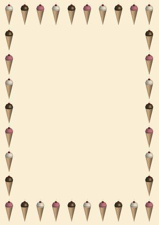 illustrated border of ice cream cones on ivory background Reklamní fotografie - 2598772