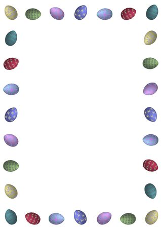 illustrated border of classic style easter eggs on white background Stock Photo