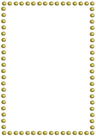 illustrated border of small golden apples on white background