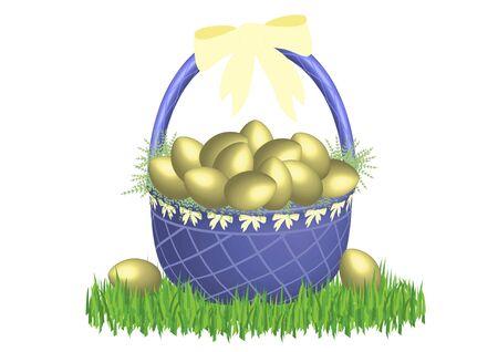 illustration of easter basket in grass on white background illustration