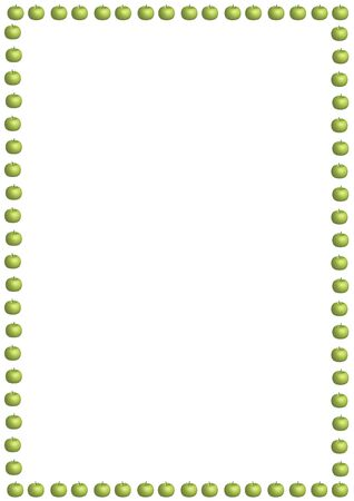 illustrated border of small green apples on white background photo