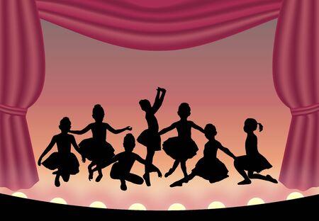 illustration of ballet dancers on stage illustration
