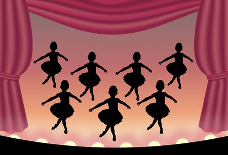 children silhouettes: illustration of ballet dancers on stage