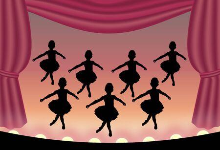 stage costume: illustration of ballet dancers on stage
