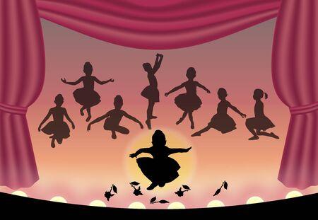 Illustration de danseurs de ballet sur scène Banque d'images - 2698840