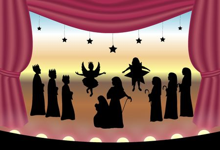 illustration of nativity play on stage