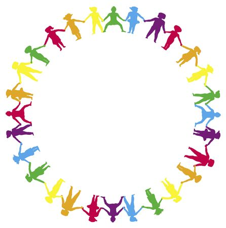 rainbow circle: border illustration of children holding hands in a circle Stock Photo