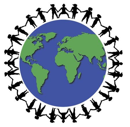 hands holding globe: illustration of children holding hands around the world Stock Photo