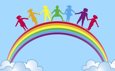 linked together: illustration of children holding hands on top of rainbow