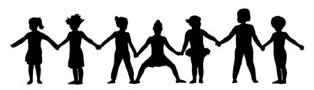 illustration of young children holding hands Archivio Fotografico