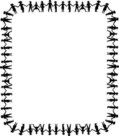 chainlinked: grens illustratie van kinderen holding hands Stockfoto