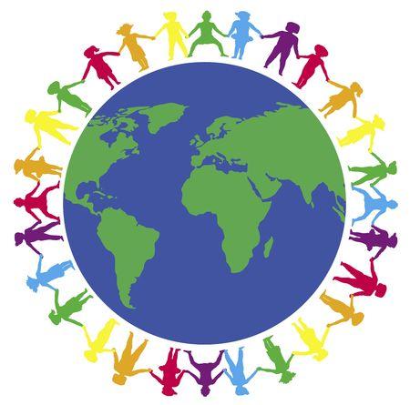 illustratie van kinderen houden de handen in de wereld