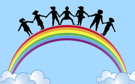 illustration of children holding hands on top of rainbow