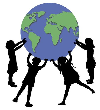 illustration of children holding up world globe Standard-Bild
