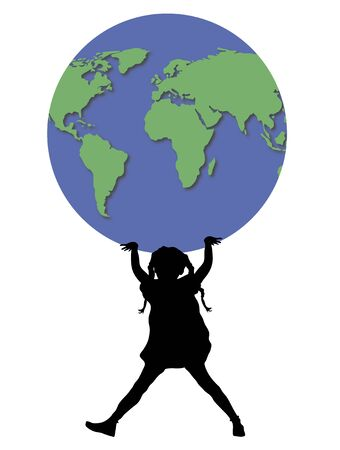 children silhouettes: illustration of young girl holding up world globe Stock Photo