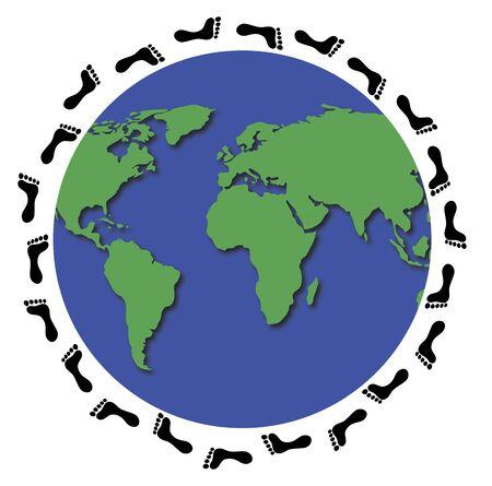 trotting: illustration of footprints around world globe