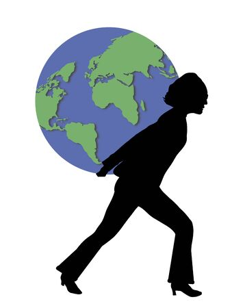 illustration of woman carrying world globe on her back illustration