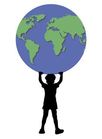 illustration of young boy holding up world globe Stock Illustration - 2733246