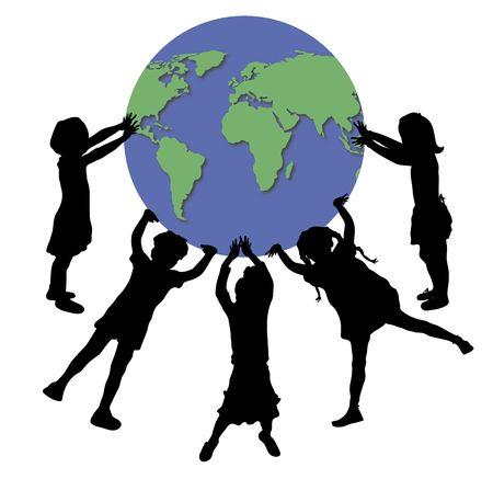 afbeelding van de kinderen te houden wereld bol  Stockfoto