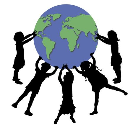 lift and carry: illustration of children holding up world globe Stock Photo